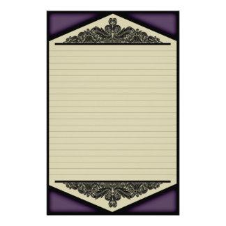Vintage púrpura oscuro, efectos de escritorio papelería de diseño