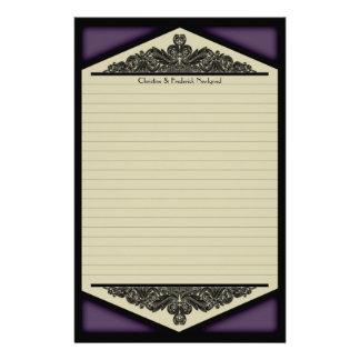 Vintage púrpura oscuro, efectos de escritorio papeleria personalizada
