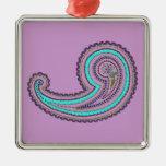 Vintage púrpura Paisley del trullo de la lavanda Adorno Cuadrado Plateado