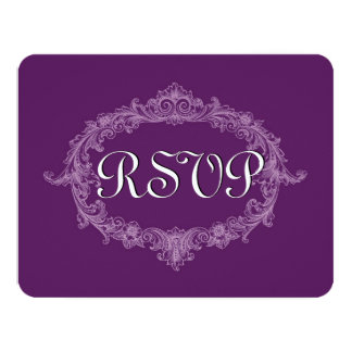 "Vintage PÚRPURA RSVP A01 Invitación 4.25"" X 5.5"""