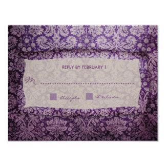 """Vintage púrpura RSVP del éxtasis de la Invitación 4.25"""" X 5.5"""""""