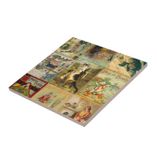 Vintage Puss in Boots Christmas Montage Ceramic Tile