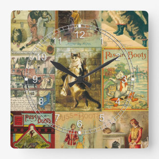 Vintage Puss in Boots Christmas Montage Square Wall Clocks