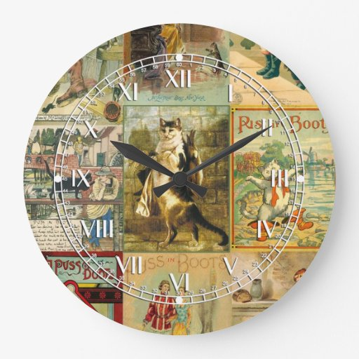 Vintage Puss in Boots Christmas Montage Round Clock