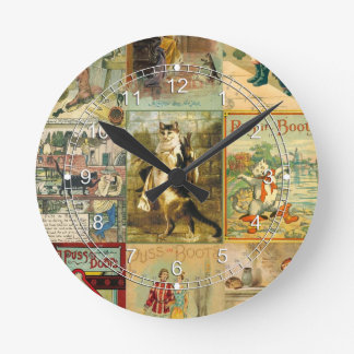 Vintage Puss in Boots Christmas Montage Round Clocks