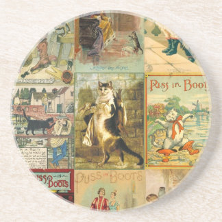 Vintage Puss in Boots Christmas Montage Drink Coaster