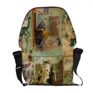 Vintage Puss in Boots Christmas Montage Courier Bag