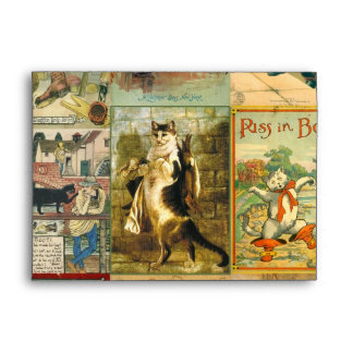 Vintage Puss in Boots Christmas Montage Envelope