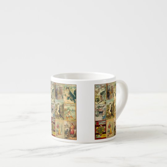 Vintage Puss in Boots Christmas Montage Espresso Cup