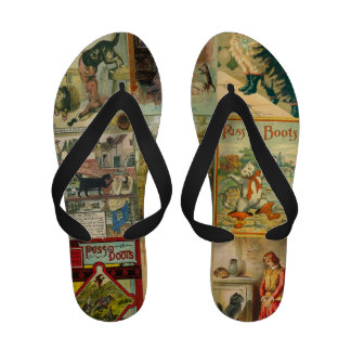 Vintage Puss in Boots Christmas Montage Flip Flops