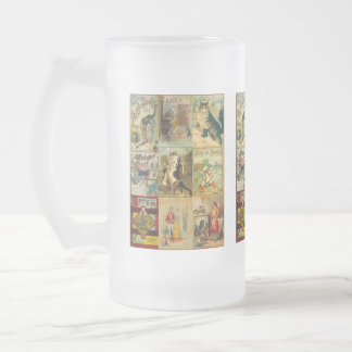 Vintage Puss in Boots Christmas Montage Frosted Glass Beer Mug