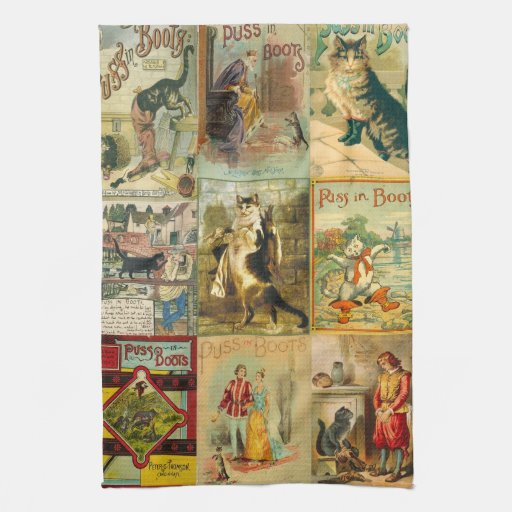 Vintage Puss in Boots Christmas Montage Hand Towel