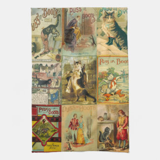 Vintage Puss in Boots Christmas Montage Towel