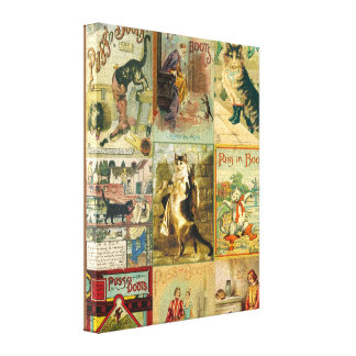 Vintage Puss in Boots Christmas Montage Gallery Wrap Canvas