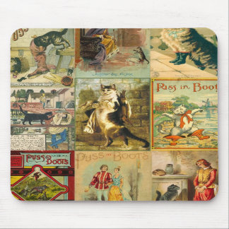 Vintage Puss in Boots Christmas Montage Mouse Pad