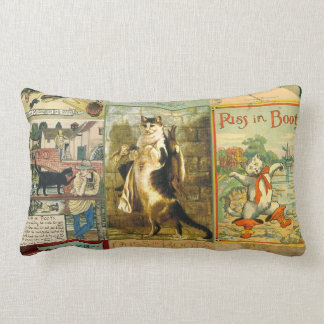 Vintage Puss in Boots Christmas Montage Throw Pillows