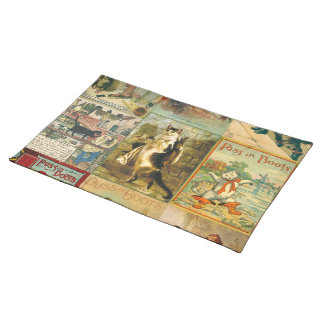 Vintage Puss in Boots Christmas Montage Placemat