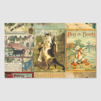Vintage Puss in Boots Christmas Montage Rectangle Stickers