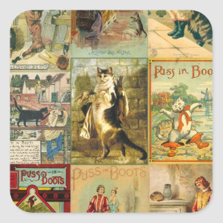 Vintage Puss in Boots Christmas Montage Sticker