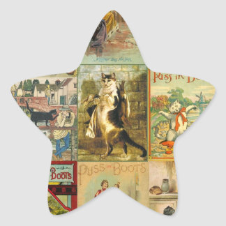 Vintage Puss in Boots Christmas Montage Star Sticker