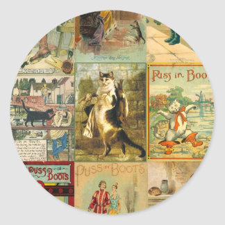 Vintage Puss in Boots Christmas Montage Classic Round Sticker