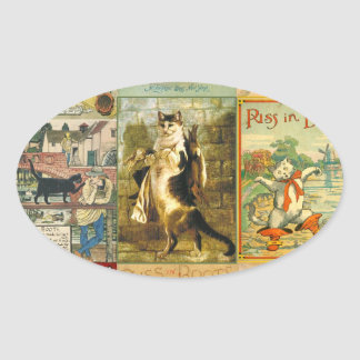 Vintage Puss in Boots Christmas Montage Oval Sticker