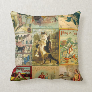 Vintage Puss in Boots Christmas Montage Throw Pillow