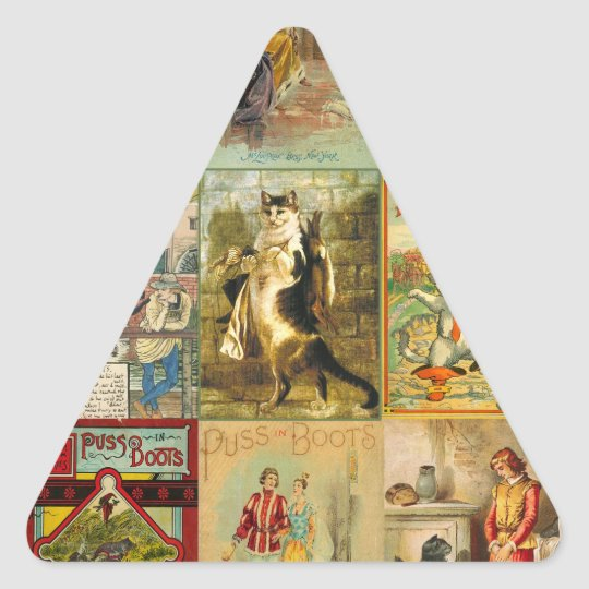 Vintage Puss in Boots Christmas Montage Triangle Sticker