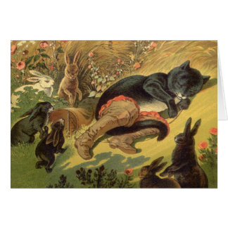 Vintage Puss in Boots Fairy Tale Carl Offterdinger Greeting Card