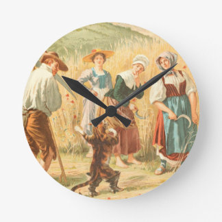 Vintage Puss in Boots Fairy Tale Illustration Round Clock