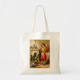 Vintage Puss in Boots with Boots Tote Bags