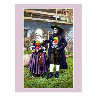 Vintage Pustertal couple in traditional dress Postcard