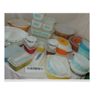 Vintage Pyrex Dishes! Poster