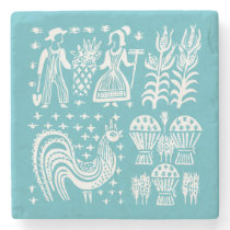 Vintage Pyrex Pattern - Butterprint (Amish Farmer) Stone Coaster