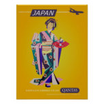 Vintage Qantas Japan Travel Poster