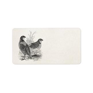 Vintage Quail Birds - Personalized Retro Game Bird Label