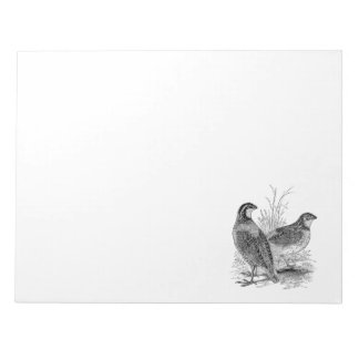 Vintage Quail Birds - Personalized Retro Game Bird Notepad