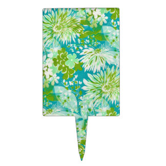 Vintage Quaint Spring Flowers Fabric Look Cake Toppers