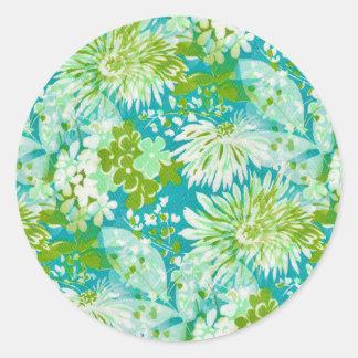 Vintage Quaint Spring Flowers Fabric Look Classic Round Sticker