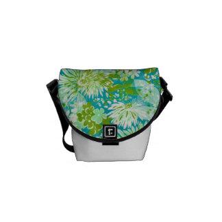 Vintage Quaint Spring Flowers Fabric Look Courier Bag