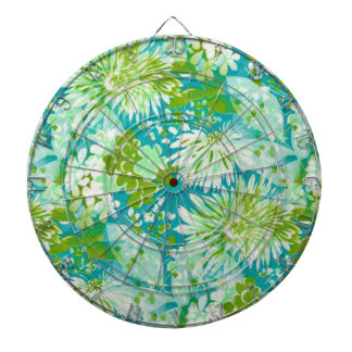 Vintage Quaint Spring Flowers Fabric Look Dartboard With Darts