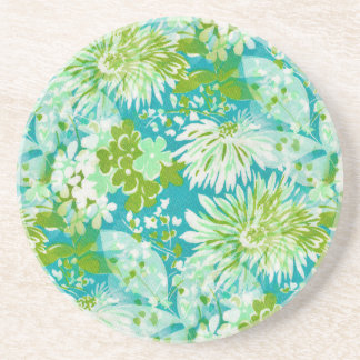 Vintage Quaint Spring Flowers Fabric Look Drink Coaster