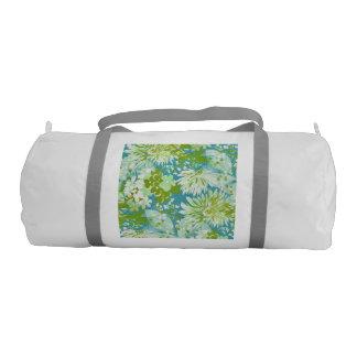 Vintage Quaint Spring Flowers Fabric Look Duffle Bag
