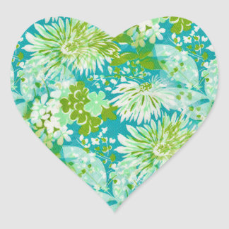 Vintage Quaint Spring Flowers Fabric Look Heart Sticker