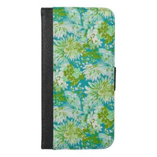 Vintage Quaint Spring Flowers Fabric Look iPhone 6/6s Plus Wallet Case