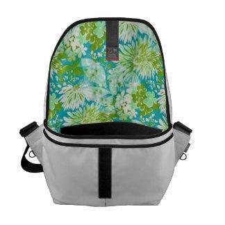 Vintage Quaint Spring Flowers Fabric Look Messenger Bag