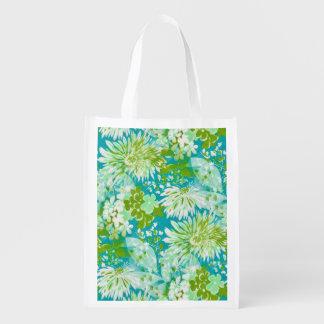 Vintage Quaint Spring Flowers Fabric Look Reusable Grocery Bag