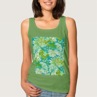 Vintage Quaint Spring Flowers Fabric Look Tank Top