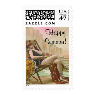 Vintage que baña belleza timbre postal