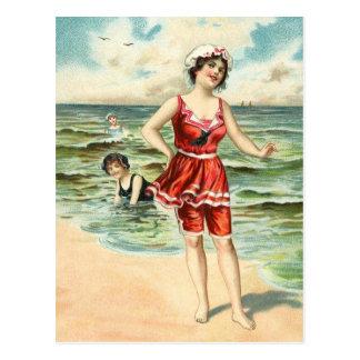Vintage que baña bellezas tarjeta postal